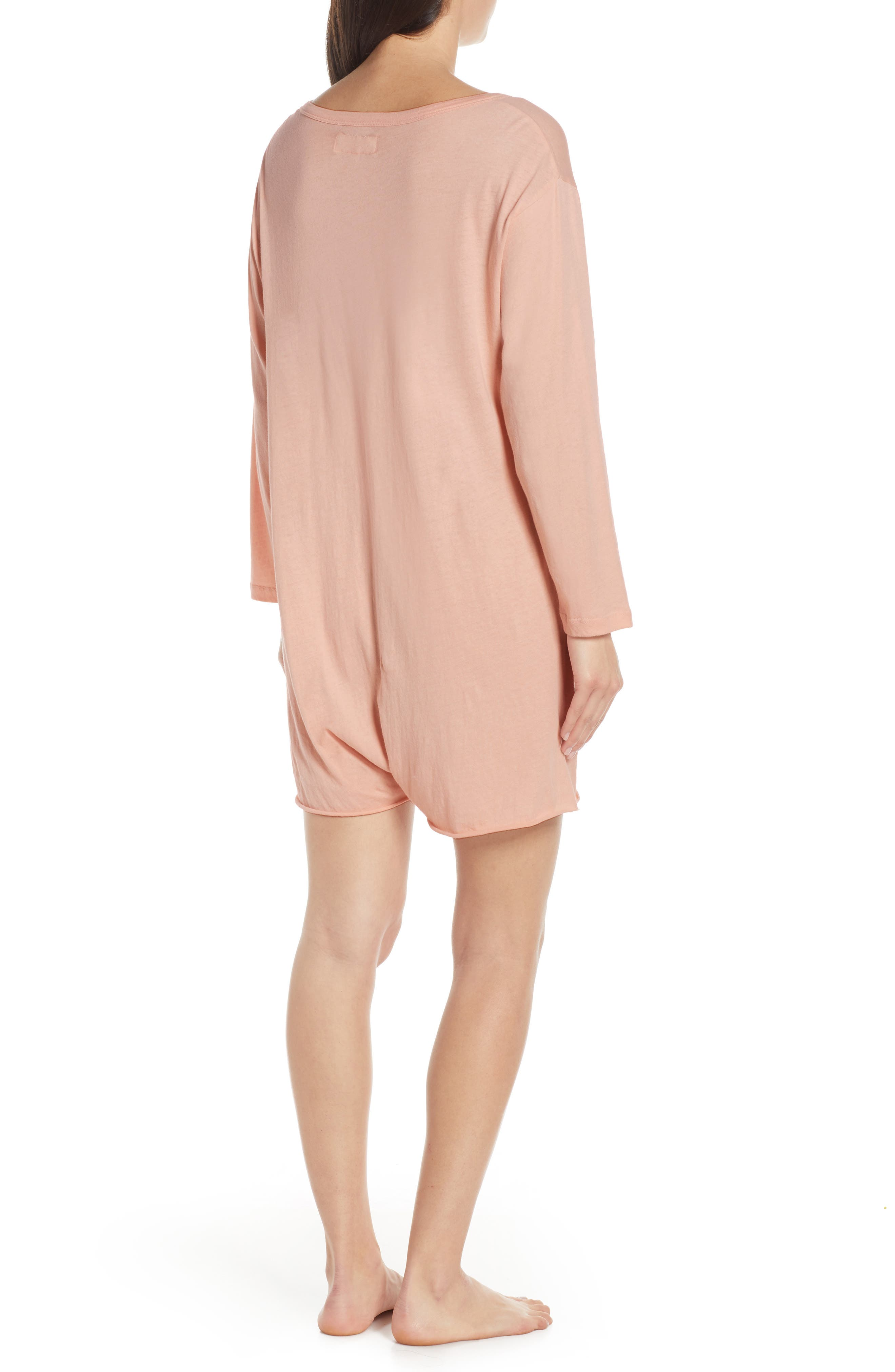 ,                             The Henley Pajama Romper,                             Alternate thumbnail 2, color,                             ROSE DUST
