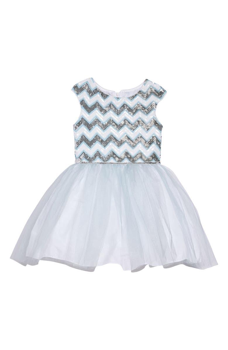 PIPPA & JULIE Chevron Sequin & Tulle Dress, Main, color, MULTI