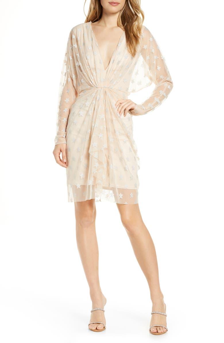 SHO Metallic Star Long Sleeve Dress, Main, color, CHAMPAGNE