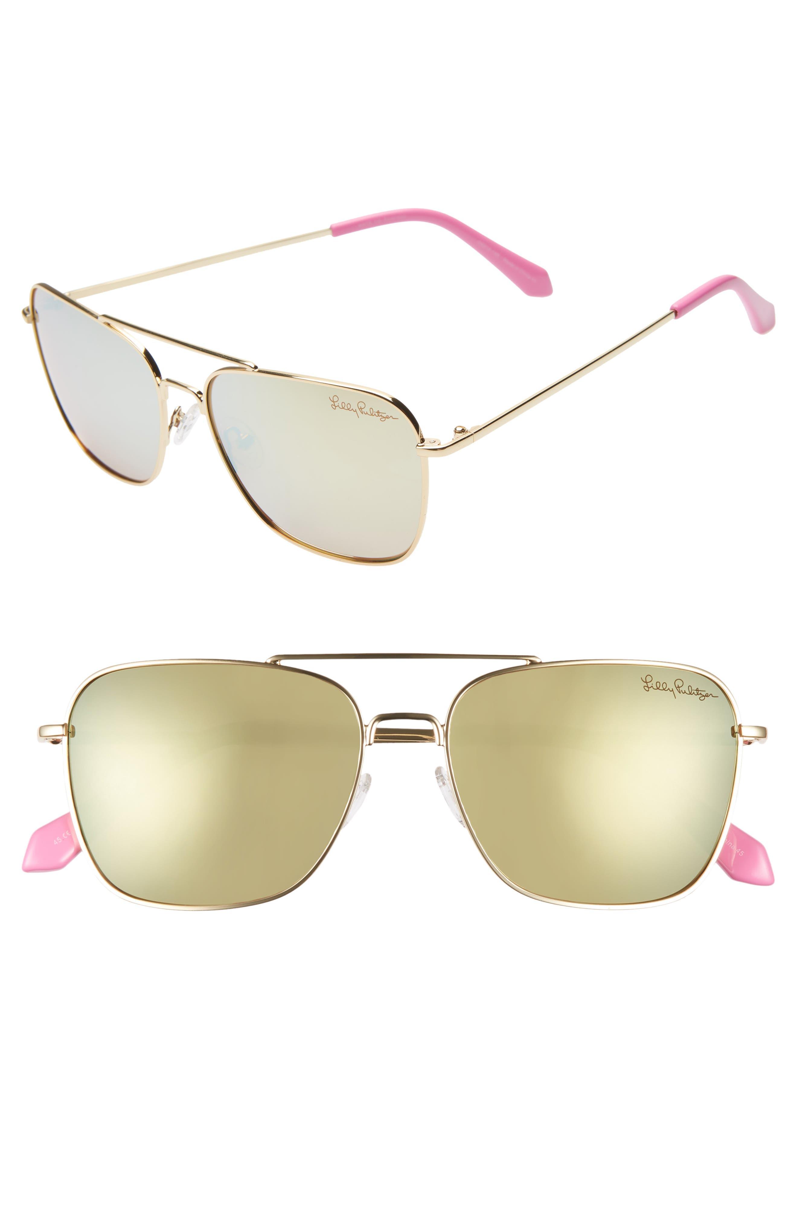 Lilly Pulitzer Kate 55Mm Polarized Aviator Sunglasses - Shiny Gold/ White Enamel