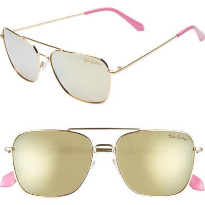 Lilly Pulitzer Kate 55Mm Polarized Aviator Sunglasses - Shiny Gold/ White Enamel