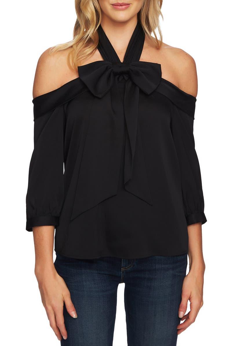 CECE Off the Shoulder Halter Blouse, Main, color, RICH BLACK
