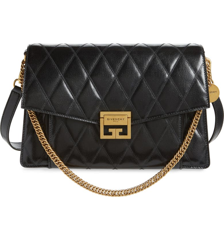 GIVENCHY Medium GV3 Quilted Leather Crossbody Bag, Main, color, BLACK