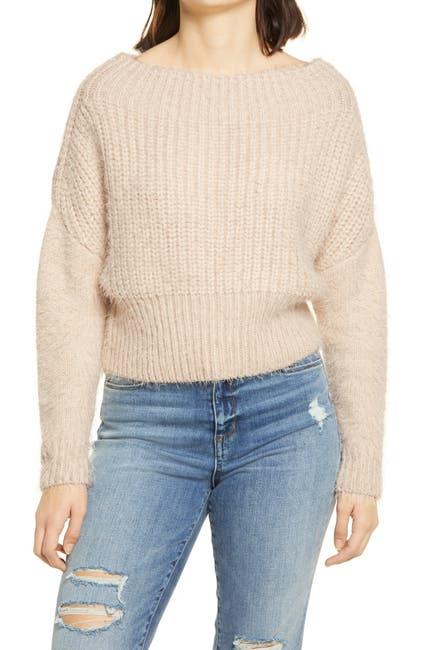 Image of LULUS Feeling It Eyelash Knit Off the Shoulder Sweater