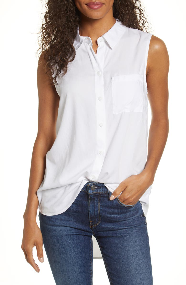 BEACHLUNCHLOUNGE Ana Sleeveless Tunic Rayon Top, Main, color, WHITE