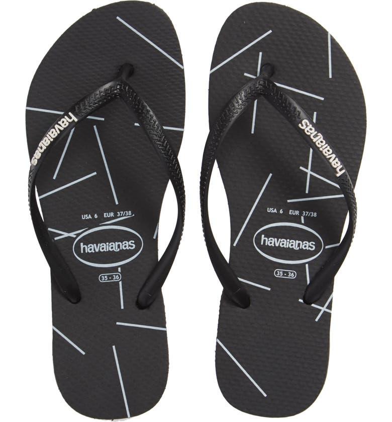HAVAIANAS Slimstripes Flip Flop, Main, color, COLOR BLOCK WHITE