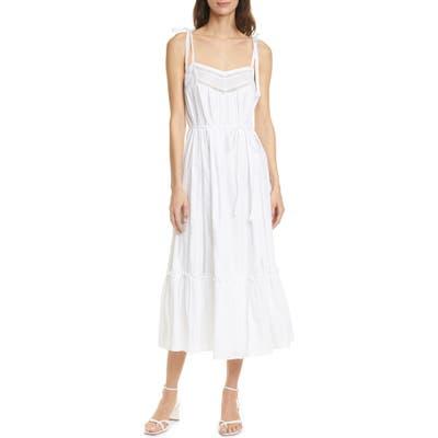 La Vie Rebecca Taylor Kelsey Clip Dot Cotton Sundress, White
