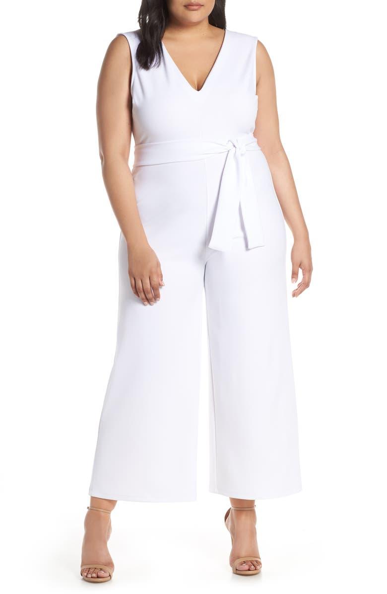 LEITH Deep V-Neck Jumpsuit, Main, color, WHITE