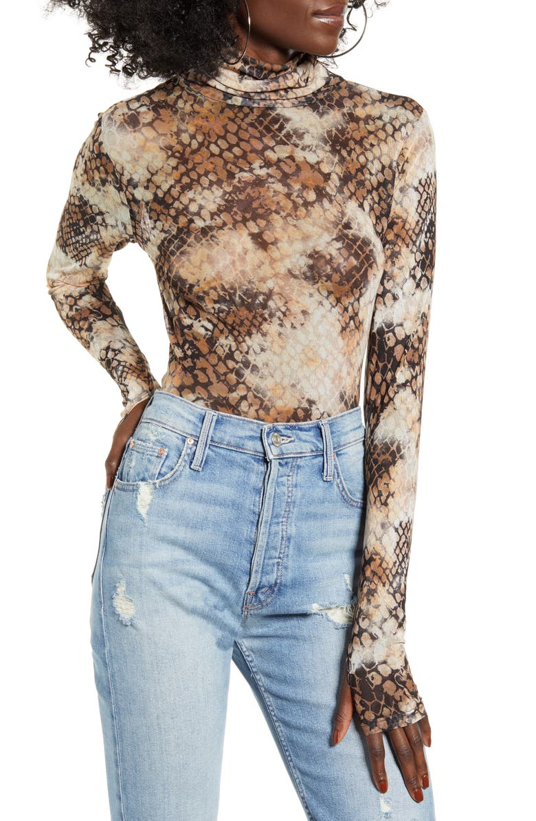 AFRM Zadie Semi Sheer Turtleneck, Main, color, STAMPED SNAKE