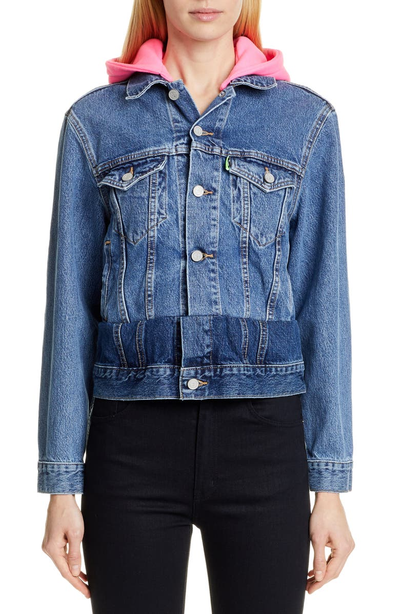 VETEMENTS Contrast Hood Denim Jacket, Main, color, 400