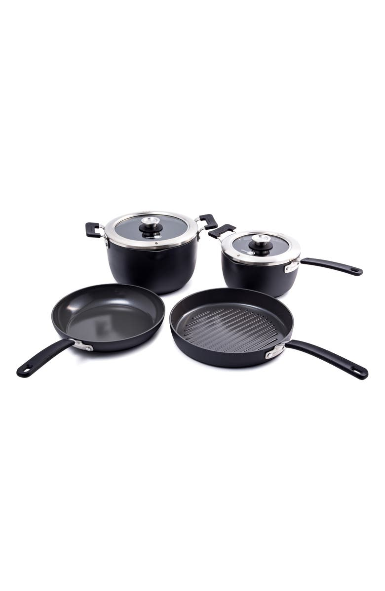 GREENPAN Levels 6-Piece Hard Anodized Stackable Ceramic Nonstick Cookware Set, Main, color, GREY