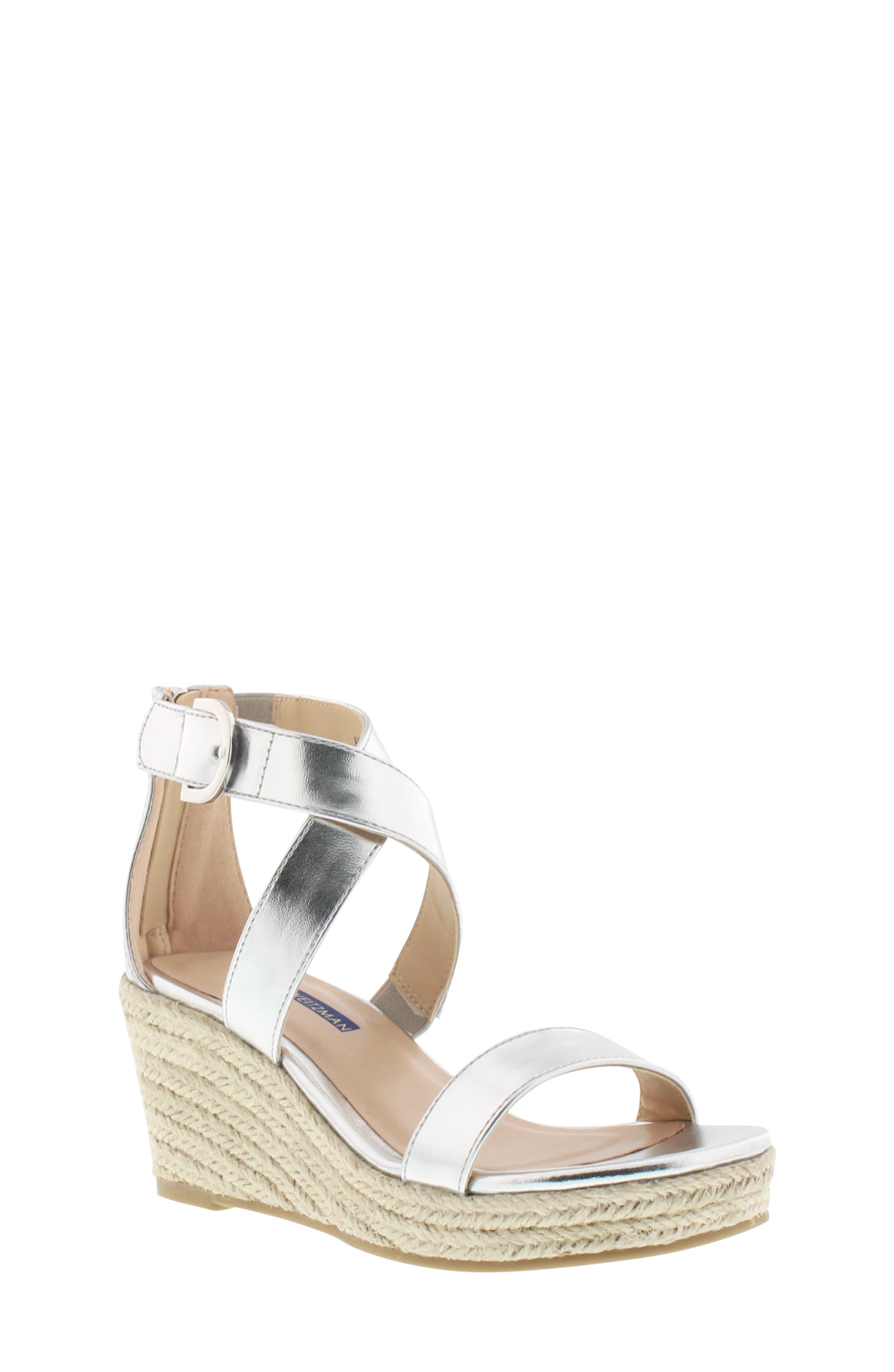 Akilah Amore Wedge Sandal, Main, color, SILVER