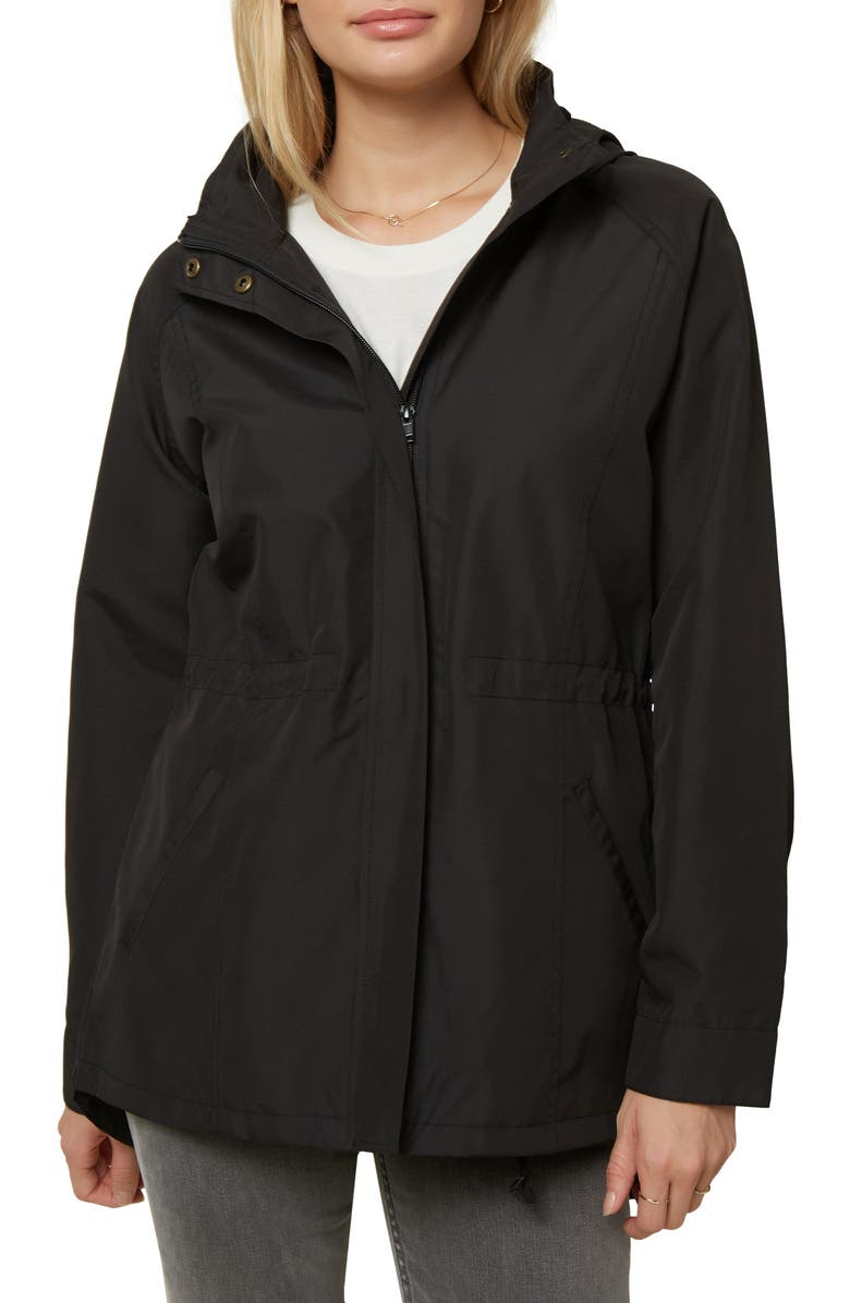 O'NEILL Gayle Water Resistant Hooded Jacket, Main, color, BLACK