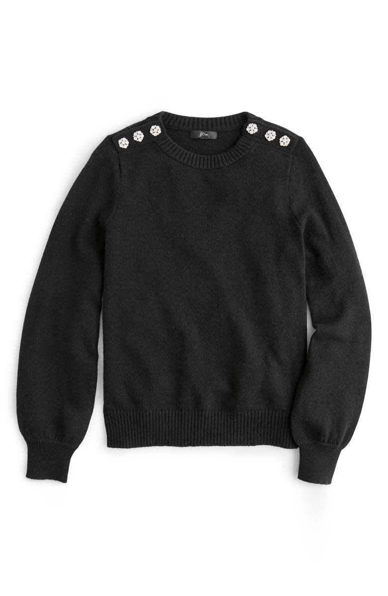 J.CREW Crewneck Sweater with Jeweled Buttons, Main, color, 001