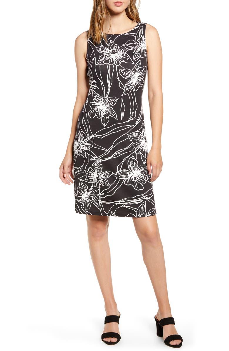 TOMMY BAHAMA Vista Blooms Sheath Dress, Main, color, BLACK