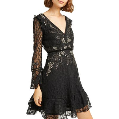French Connection Bella Sparkle Long Sleeve Skater Dress, Black