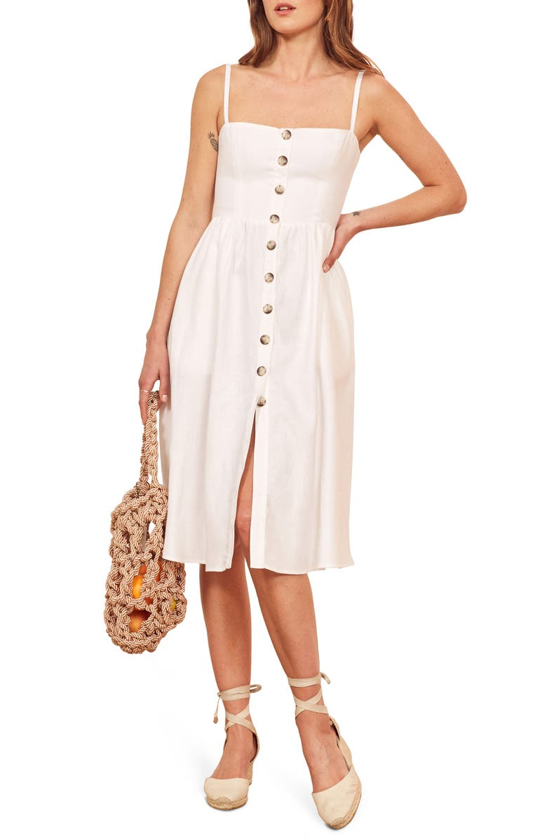 REFORMATION Tori Linen Sundress, Main, color, WHITE