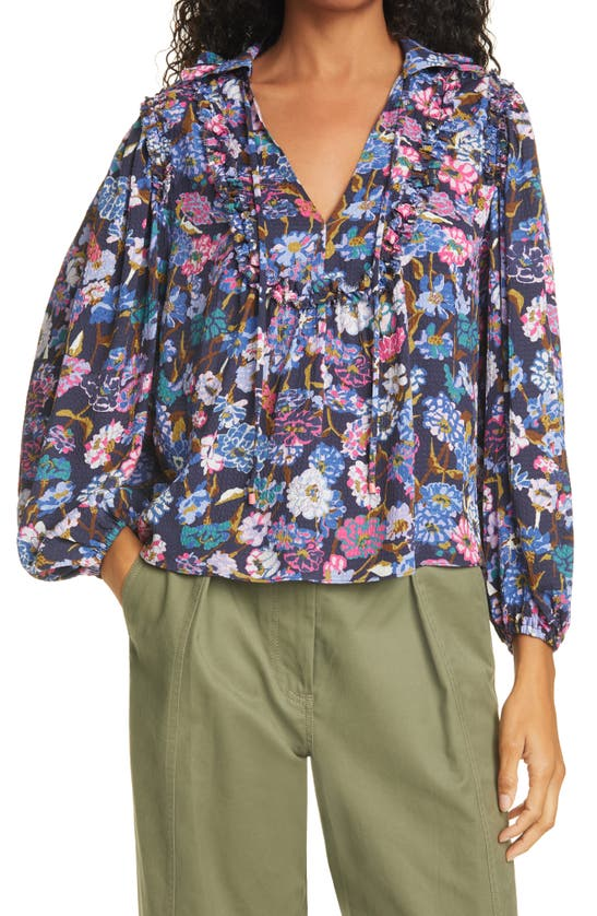 Tanya Taylor Aniela Floral Puckered Silk Peasant Blouse In Mixed Meadow Navy