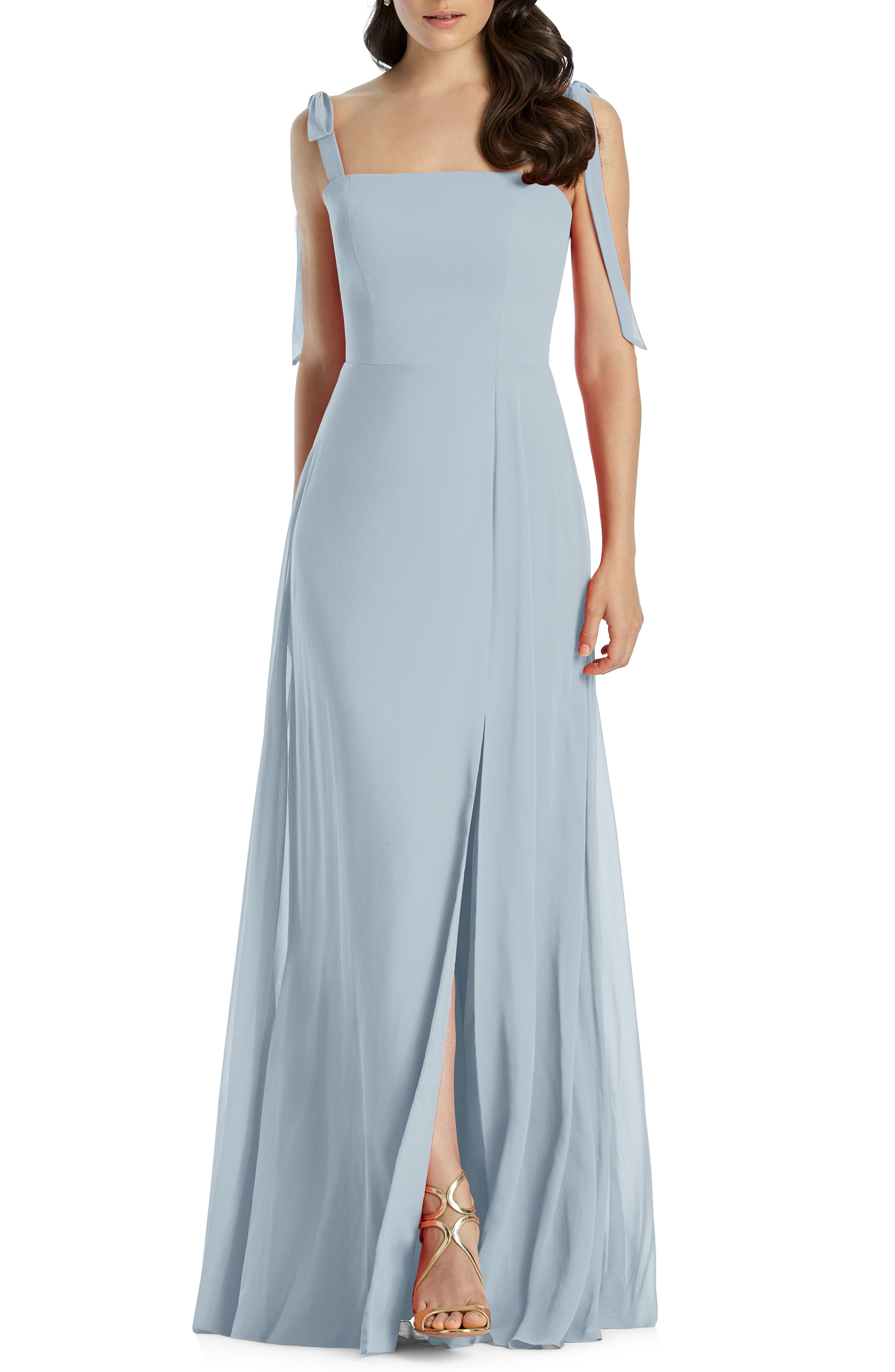 Dessy Collection Shoulder Tie Chiffon Evening Dress, Blue