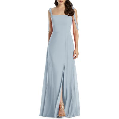 Dessy Collection Shoulder Tie Chiffon Evening Dress, Blue
