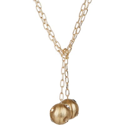 Alexis Bittar Future Antiquity Crystal Studded Sphere Lariat Necklace