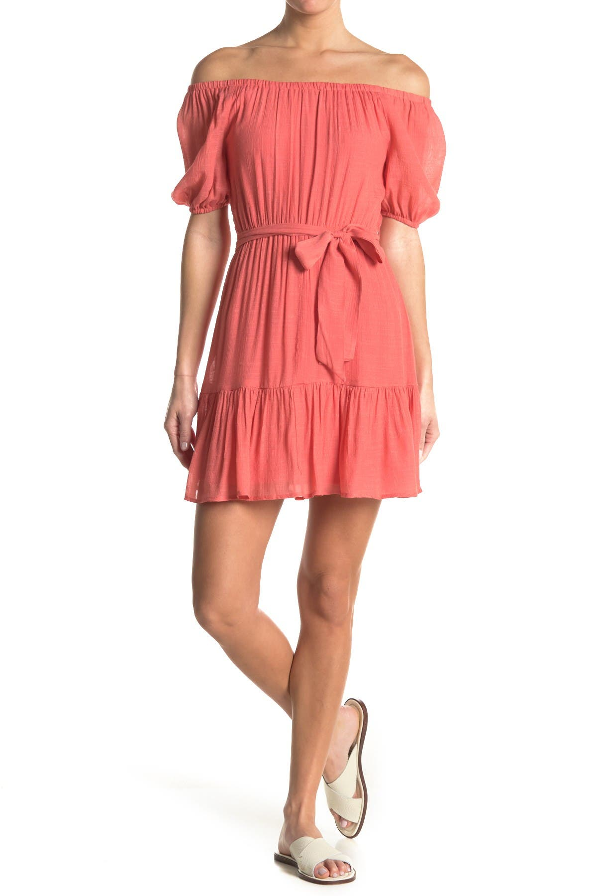 Image of KENEDIK Off-the-Shoulder Puff Sleeve Ruffled MIni Dress