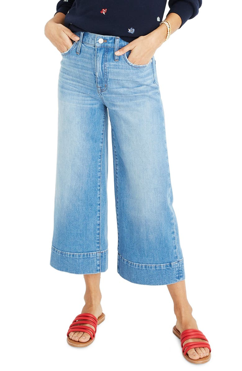 MADEWELL Crop Wide Leg Jeans, Main, color, 400