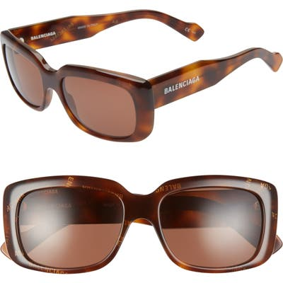 Balenciaga 5m Rectangular Sunglasses - Shiny Balenciaga Havana