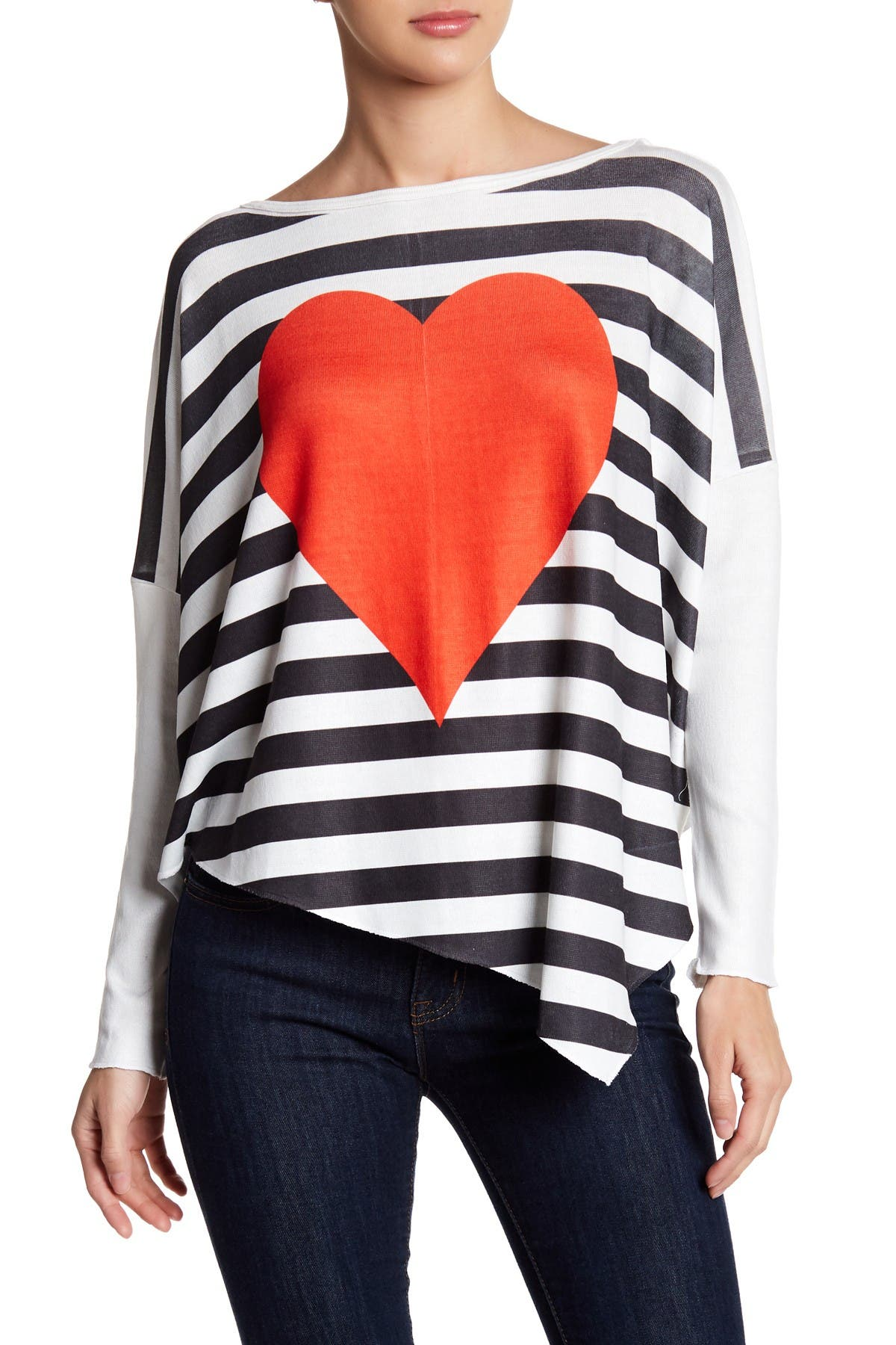 Image of Go Couture Printed Asymmetrical Hem Dolman Sweater