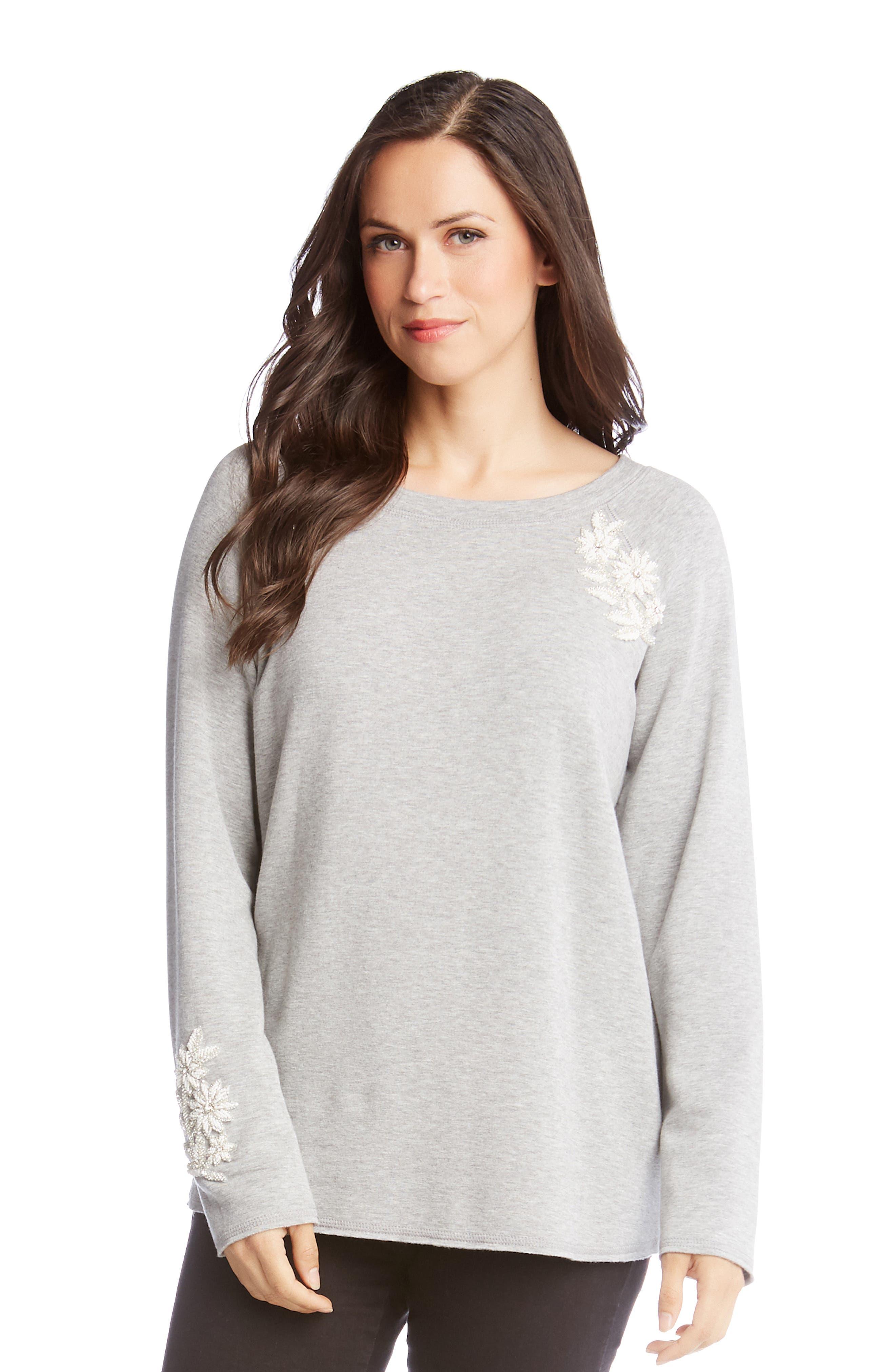 ,                             Embellished Sweatshirt,                             Alternate thumbnail 3, color,                             LIGHT HEATHER GREY