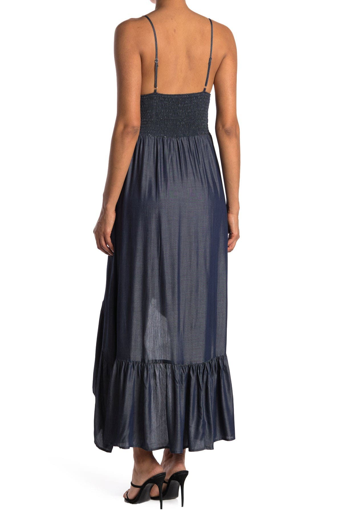 Image of Velvet Torch V-Neck High/Low Midi Dress
