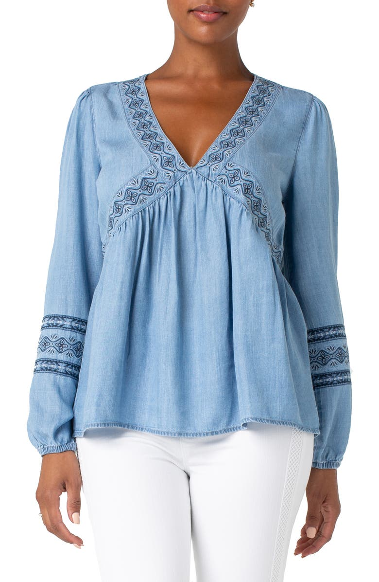 LIVERPOOL Embroidered Neck Peasant Top, Main, color, 420