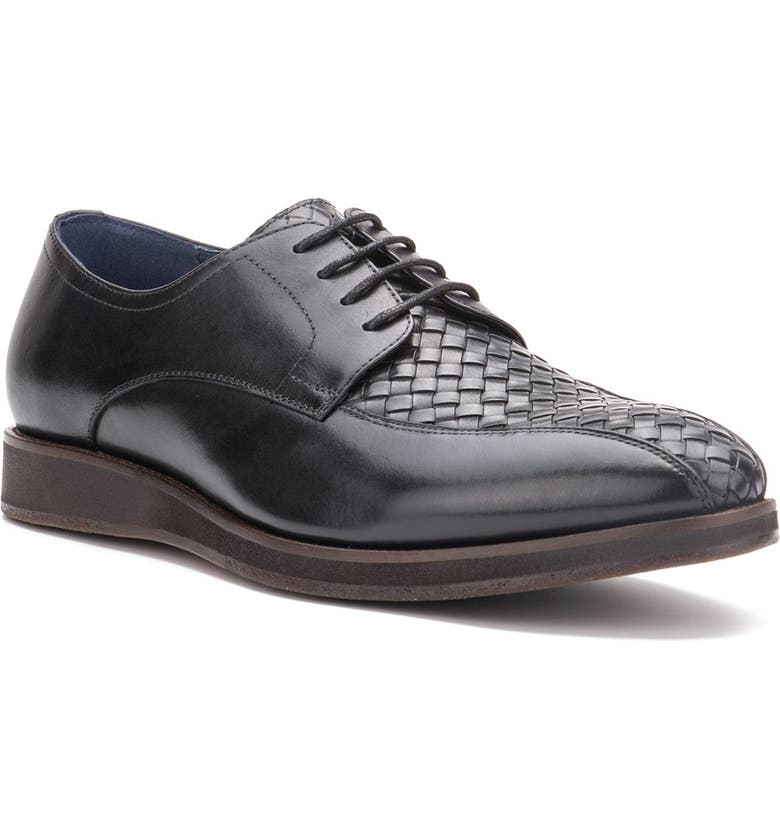 VINTAGE FOUNDRY Thornton Woven Leather Derby, Main, color, BLACK
