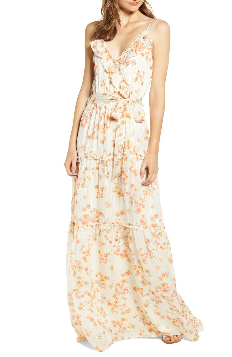 A LA PLAGE Strappy Floral Tiered Maxi Dress, Main, color, IVORY SUNRISE