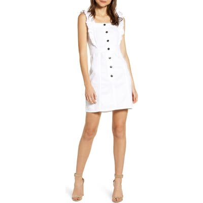 Cupcakes And Cashmere Denim Ruffle Button Dress, White