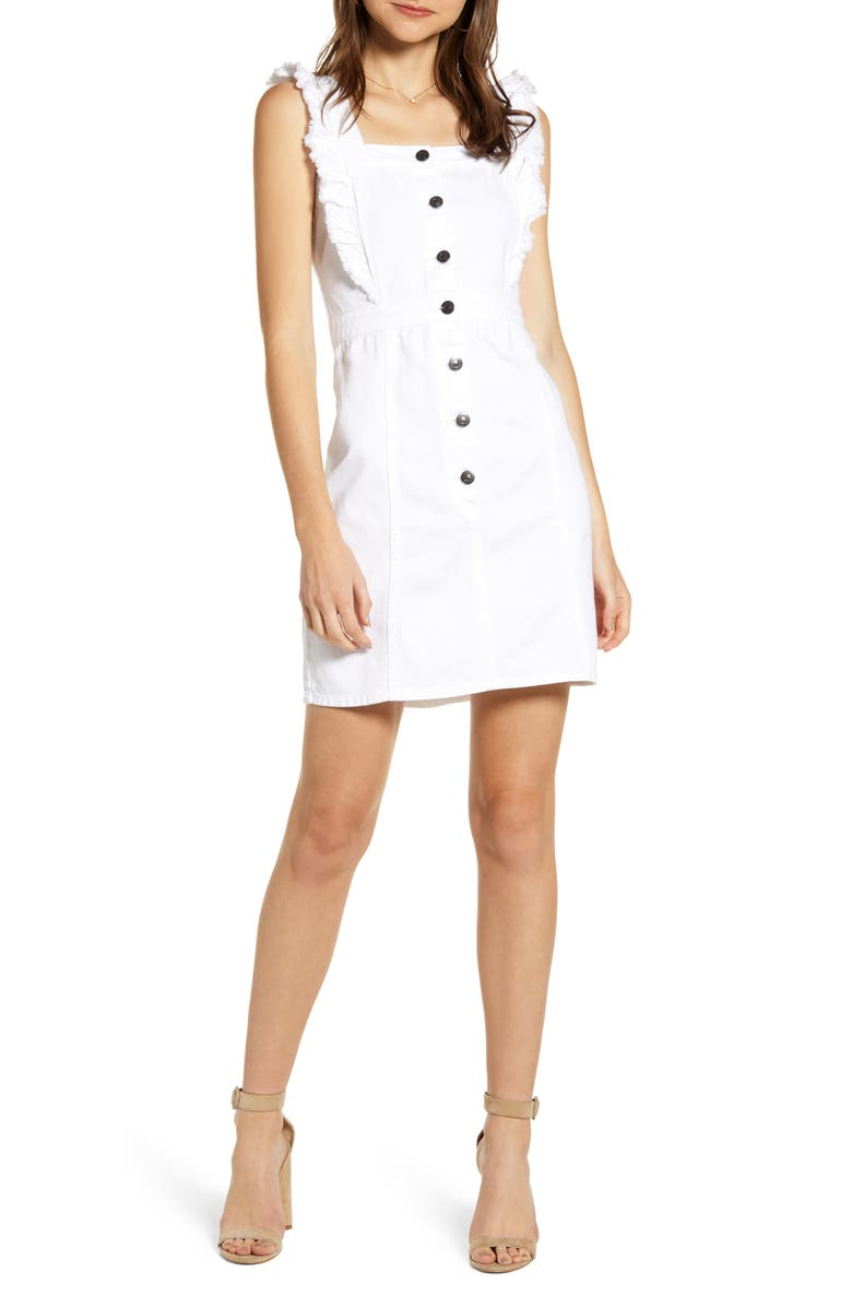 CUPCAKES AND CASHMERE Denim Ruffle Button Dress, Main, color, WHITE