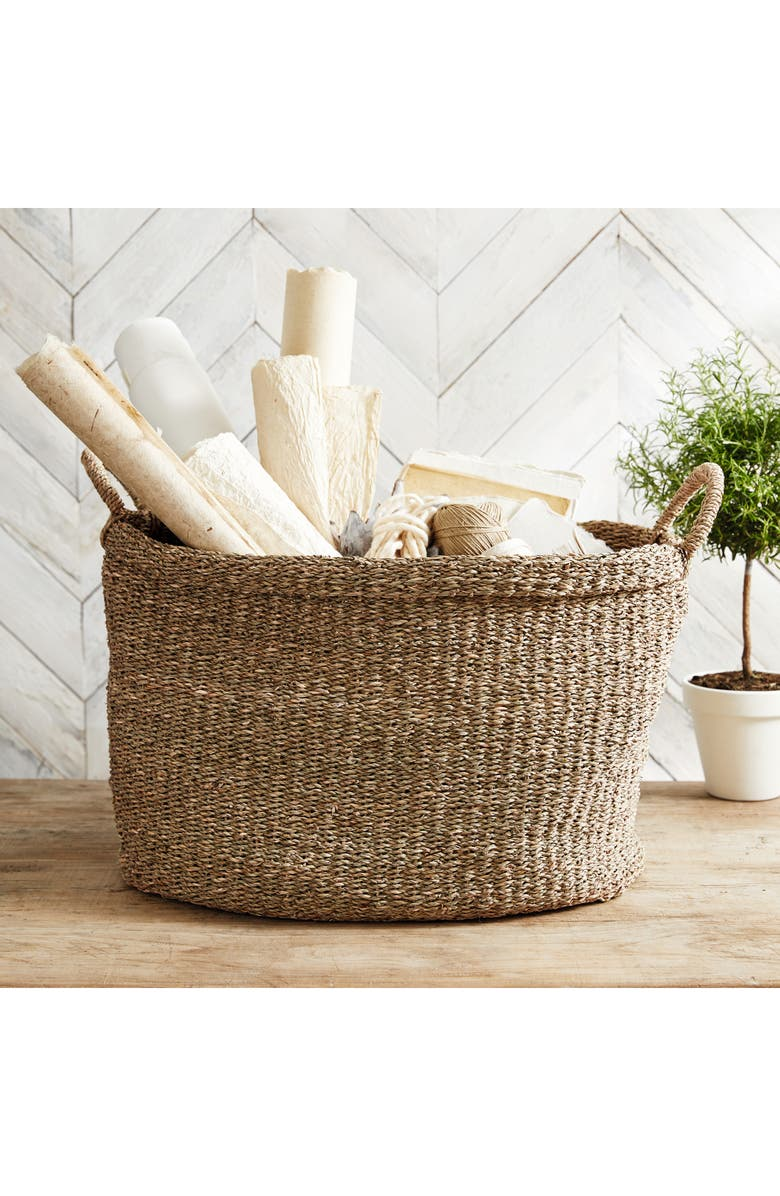 THE WHITE COMPANY Large Oval Seagrass Basket, Main, color, NATURAL