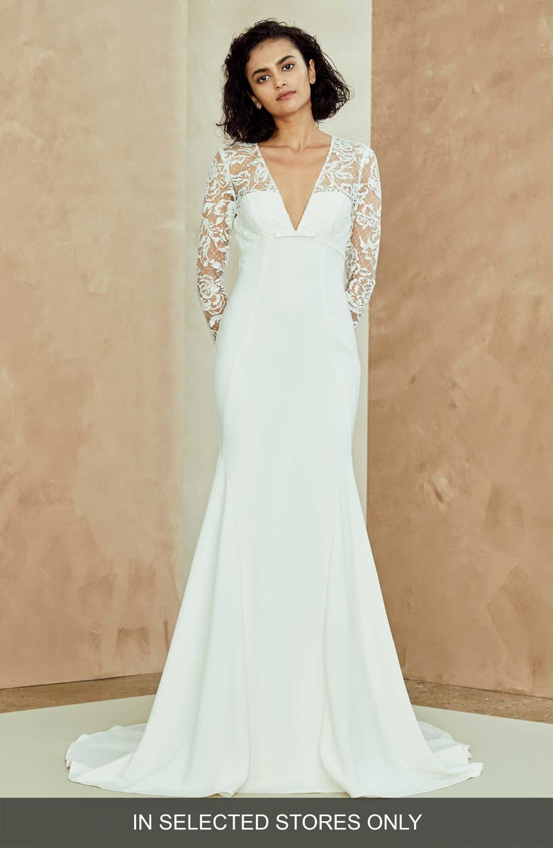 NOUVELLE AMSALE Julianna Lace & Crepe Trumpet Gown, Main, color, IVORY