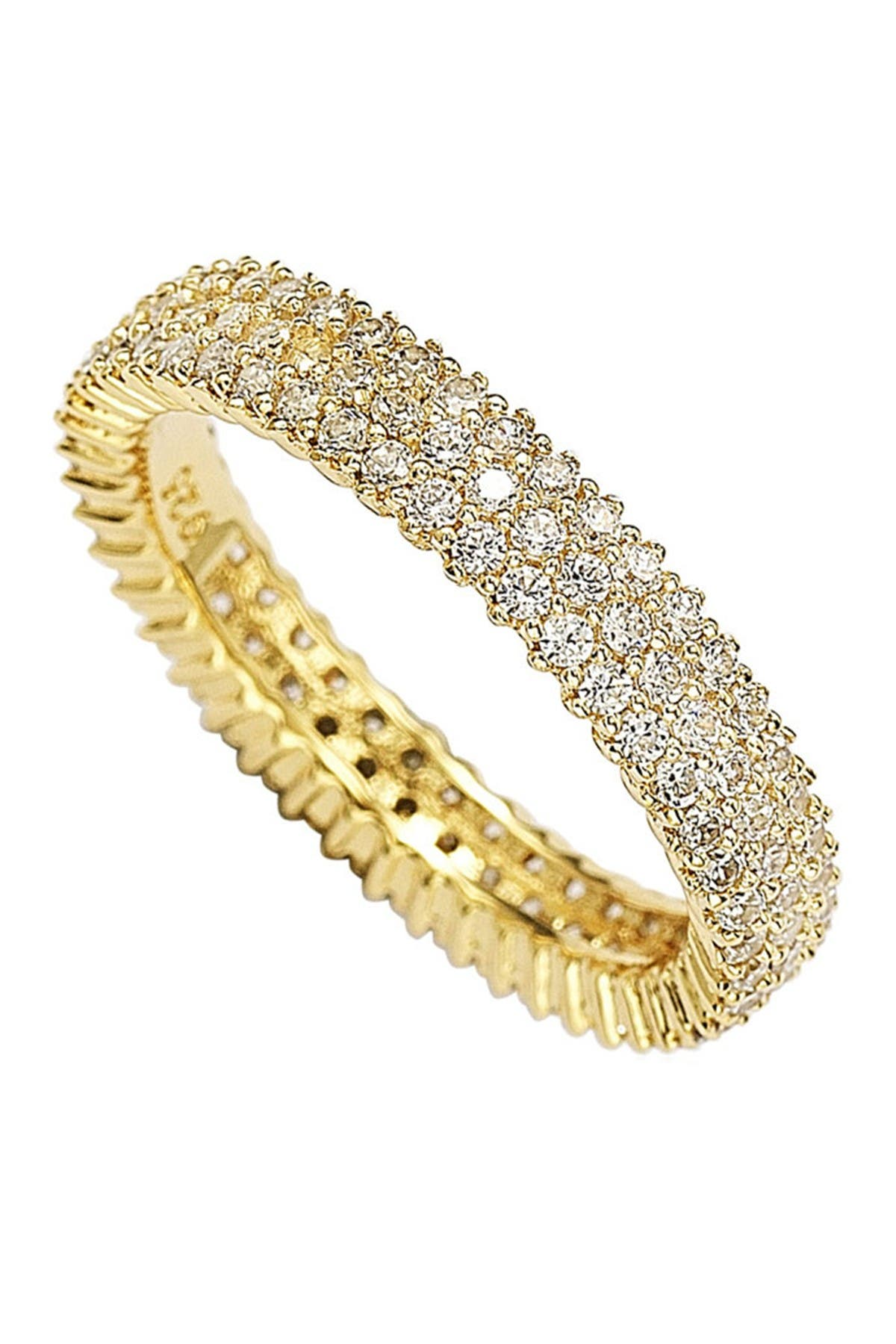 Image of Suzy Levian 14K Yellow Gold Plated Micro-Pave White CZ Eternity Band Ring