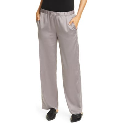 Eileen Fisher Pull-On Straight Leg Recycled Polyester Pants, Grey
