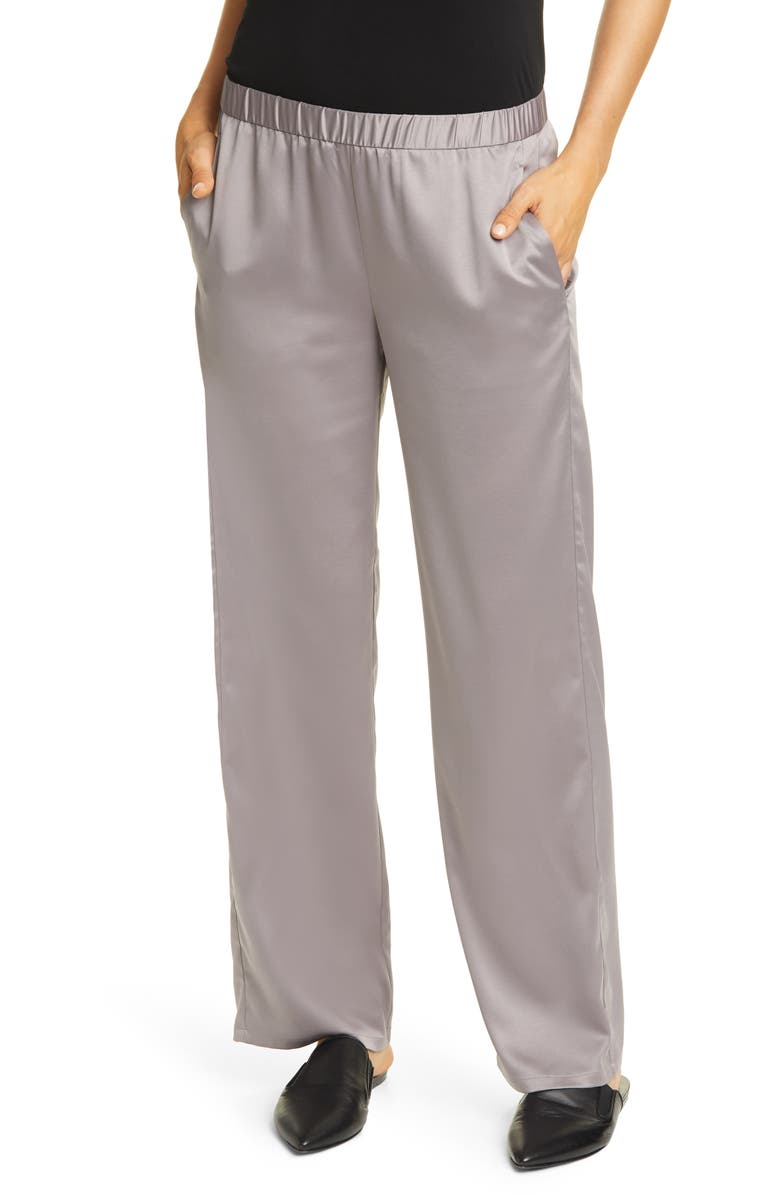 EILEEN FISHER Pull-On Straight Leg Recycled Polyester Pants, Main, color, BRIAR