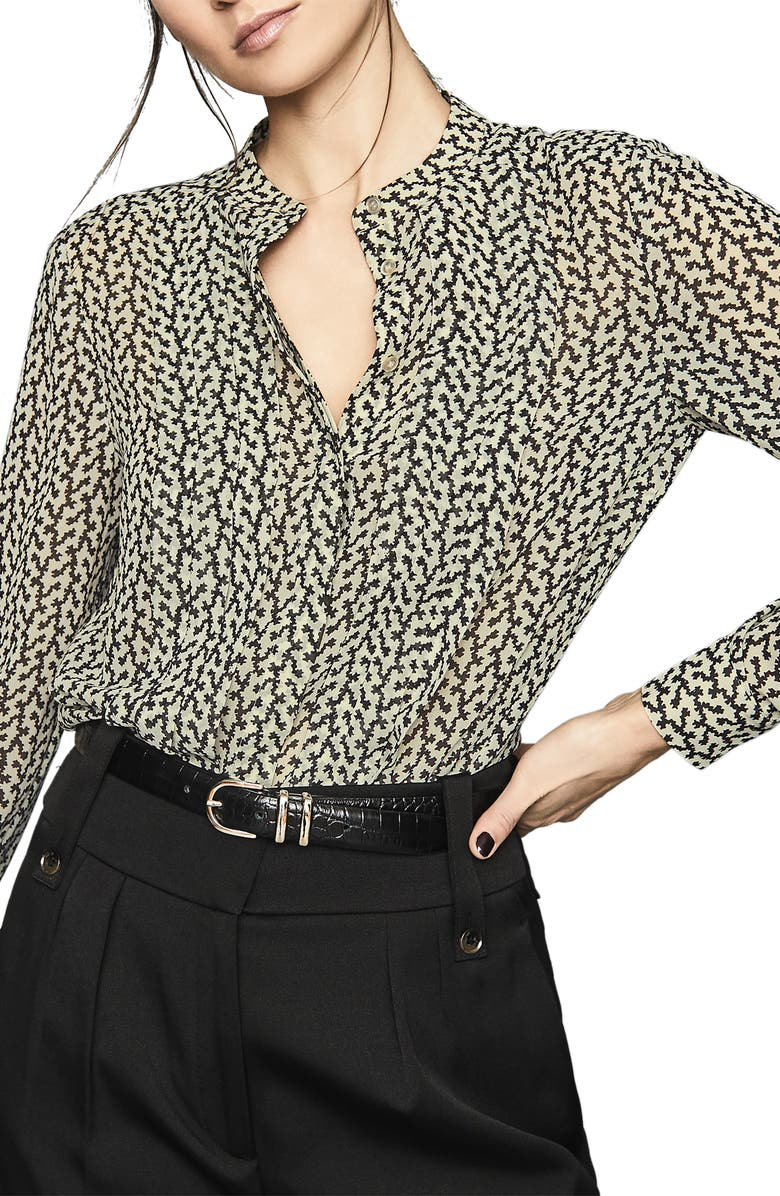 REISS Lea Print Blouse, Main, color, BLACK/ WHITE
