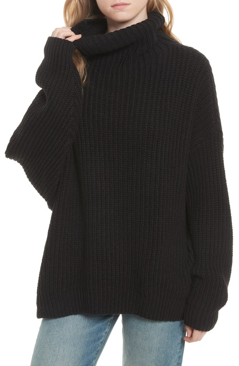 FREE PEOPLE Swim Too Deep Turtleneck Sweater, Main, color, 001
