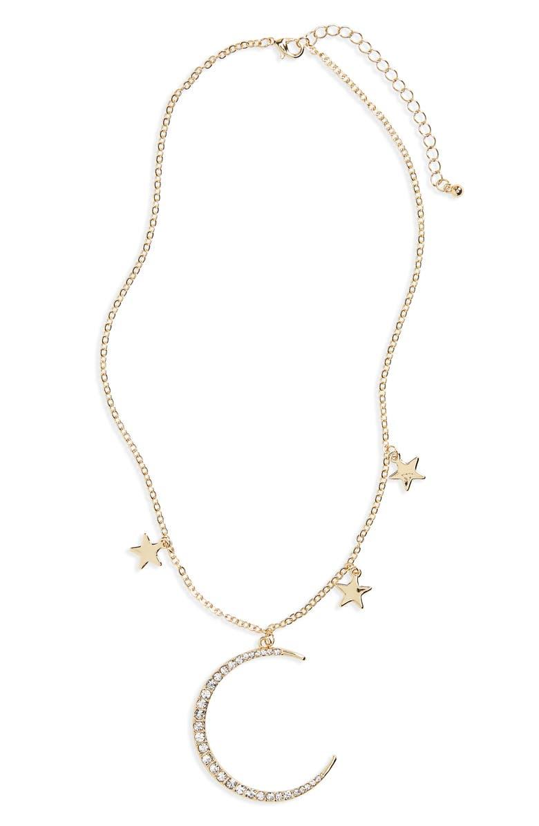 CARA Moon & Stars Pendant Necklace, Main, color, 710