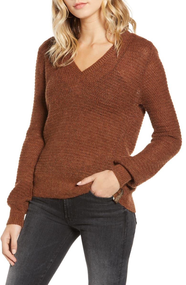 SCOTCH & SODA V-Neck Metallic Pullover, Main, color, 210