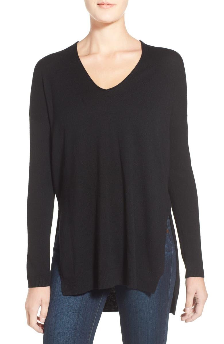 TROUVÉ V-Neck Tunic Sweater, Main, color, 001
