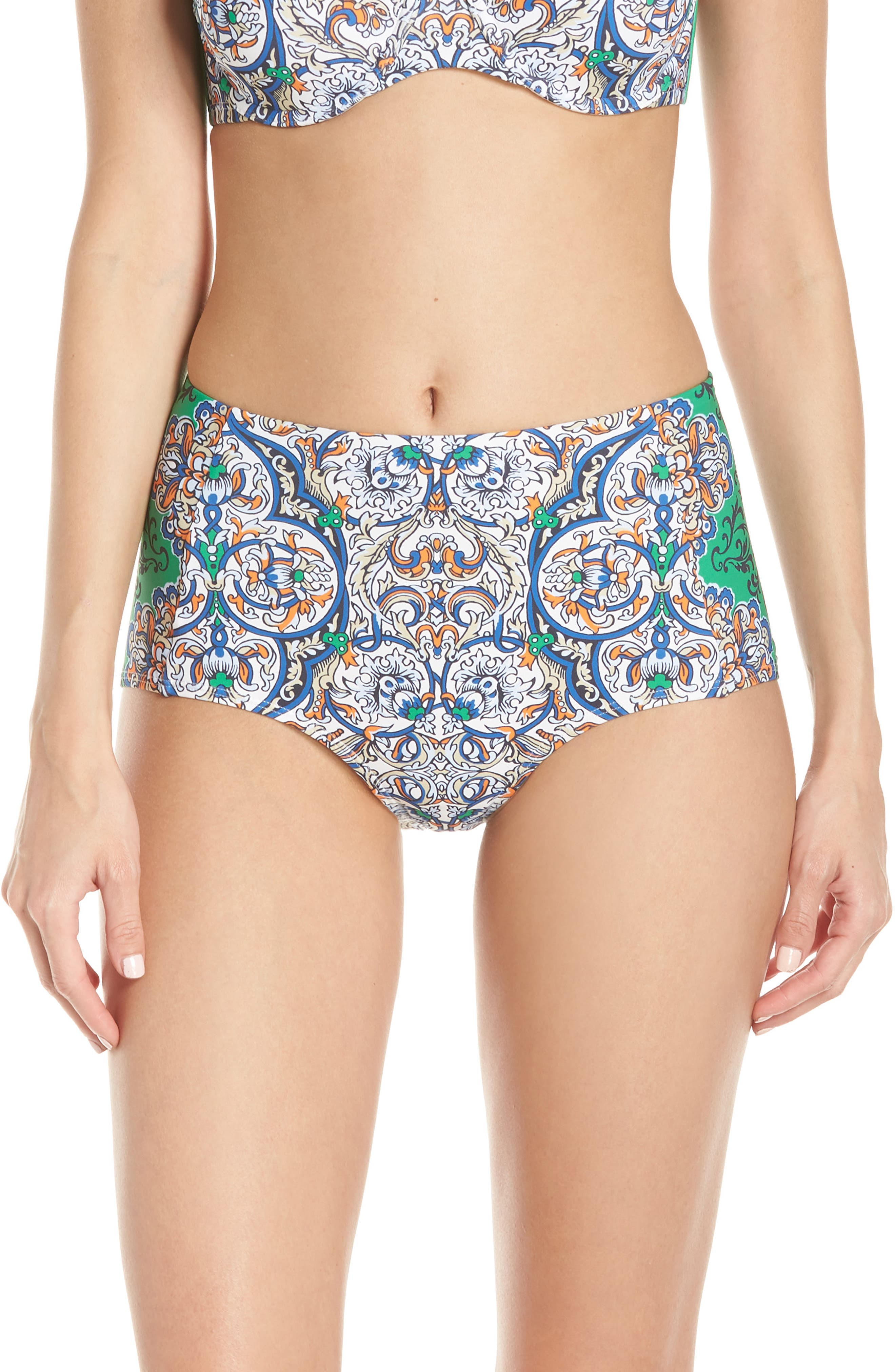 Tory Burch High Waist Bikini Bottoms, Blue