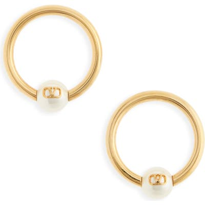 Valentino Vlogo Imitation Pearl Hoop Earrings