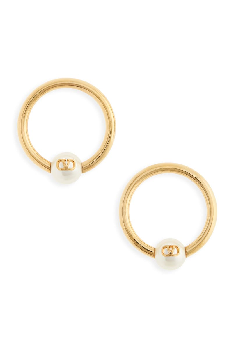 VALENTINO VLOGO Imitation Pearl Hoop Earrings, Main, color, GOLD/ PEARL
