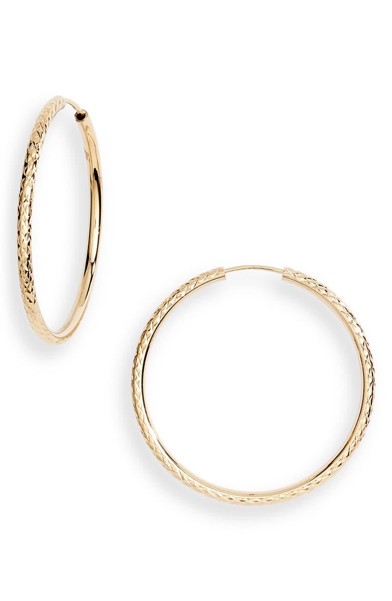 ARGENTO VIVO Naples Endless Hoop Earrings, Main, color, GOLD